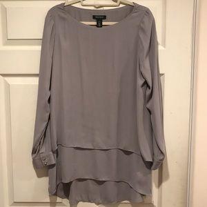 White House Black Market tiered grey blouse